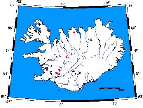 Locations of Iceland geyser basins